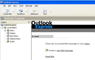 tampilan outlook express 6